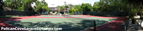 Tennis courts by the Pelican Cove Pavilion.